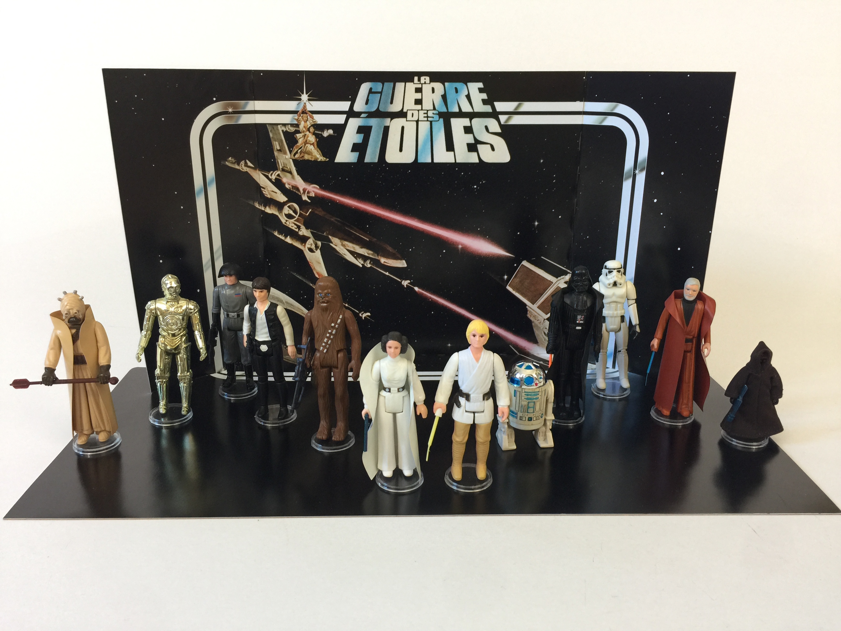 Reproduction Vintage Star Wars Prototype La Guerre Des Etoiles First 12 Display Backdrop Replicator Boxes And Inserts